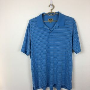 Foundry Striped Polo Shirt Size 3XLT Blue & White
